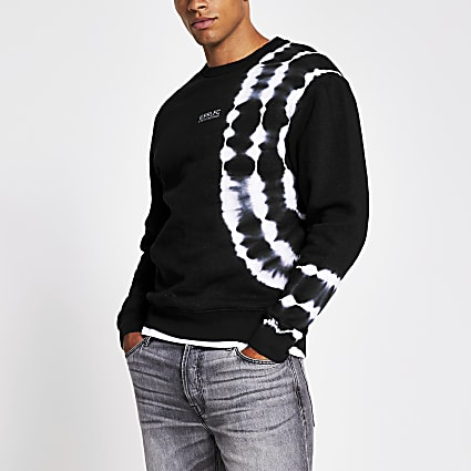 Prolific black tye die slim fit sweatshirt
