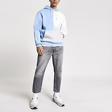 Prolific blue colour blocked hoodie