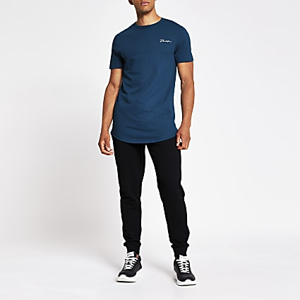 Prolific blue curved hem muscle fit T-shirt