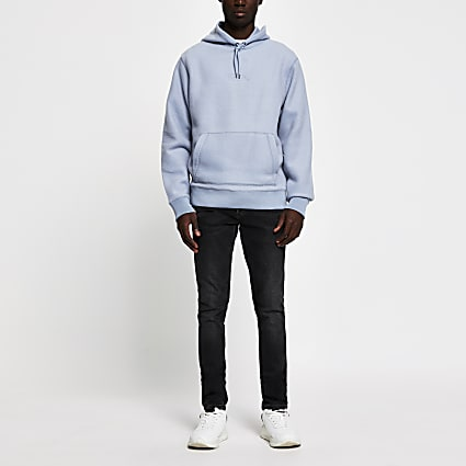 Prolific blue regular fit fleece hoodie