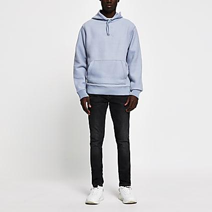 Prolific blue regular fit fleece hoodie