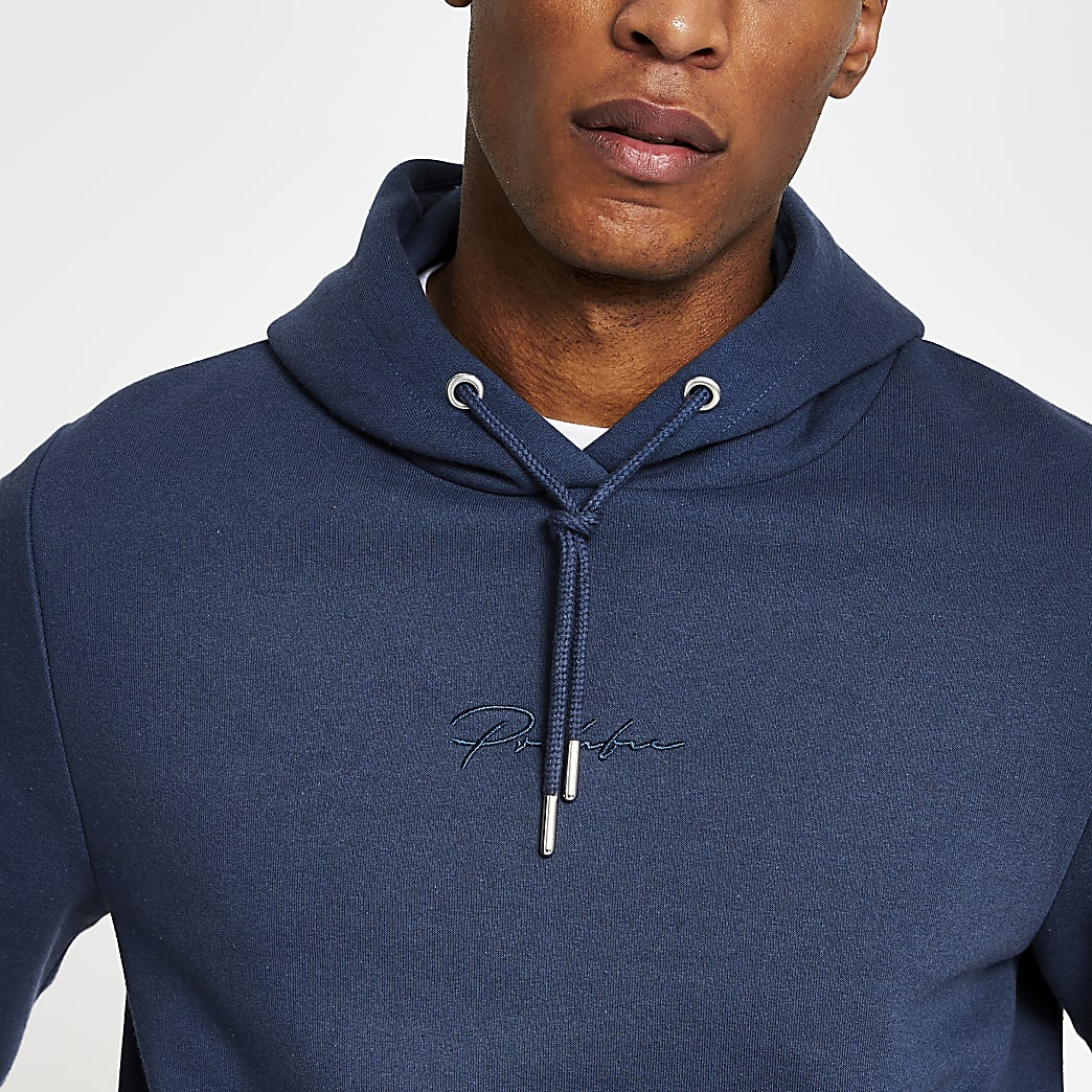 Prolific blue slim fit hoodie