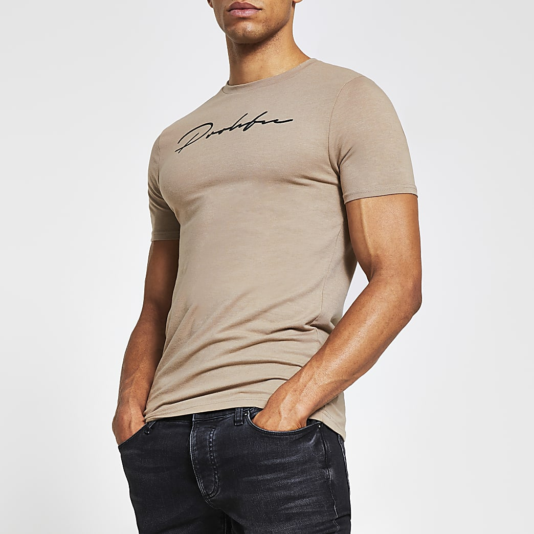 Prolific brown muscle fit t-shirt
