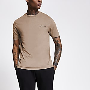 Prolific brown slim fit T-shirt