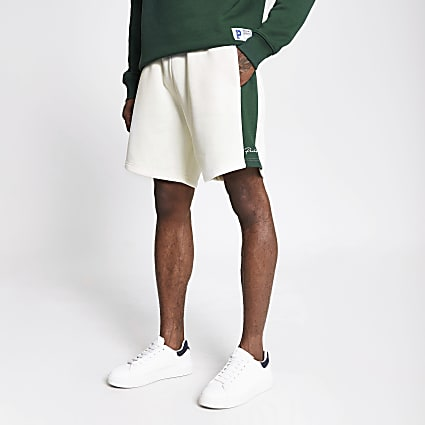 Prolific dark green colour block shorts