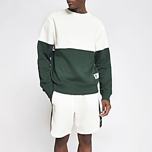 Prolific dark green colour block sweatshirt