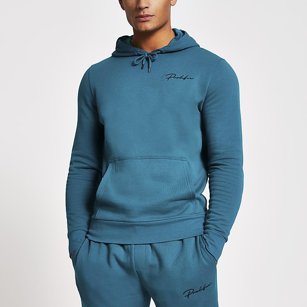 Prolific dark green slim fit hoodie