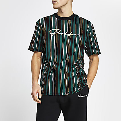 Prolific dark green stripe t-shirt