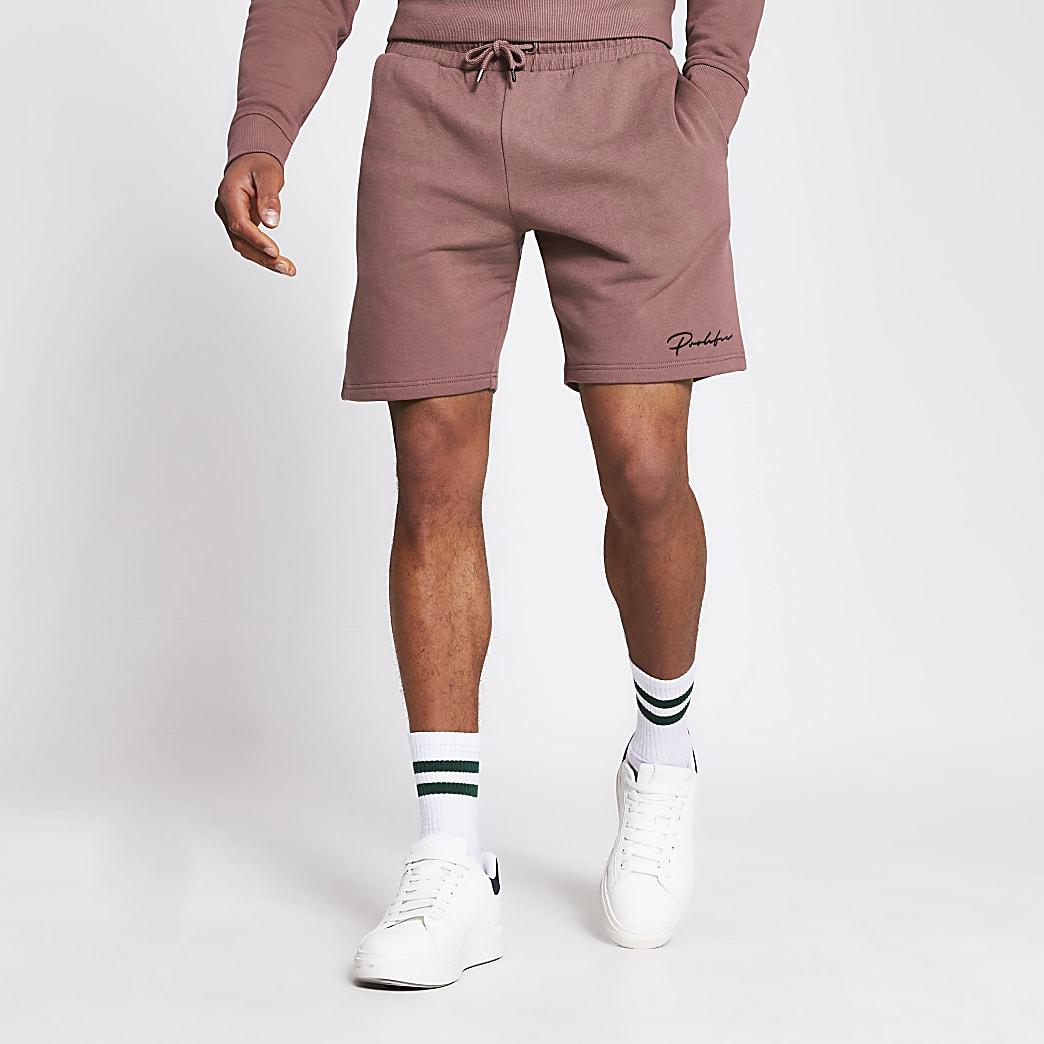 Prolific - Donkerroze slim-fit short