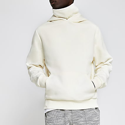 Prolific ecru double neck slim fit hoodie