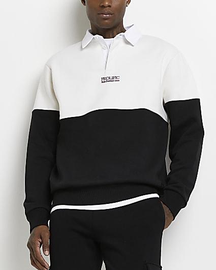 Prolific ecru slim fit block polo shirt