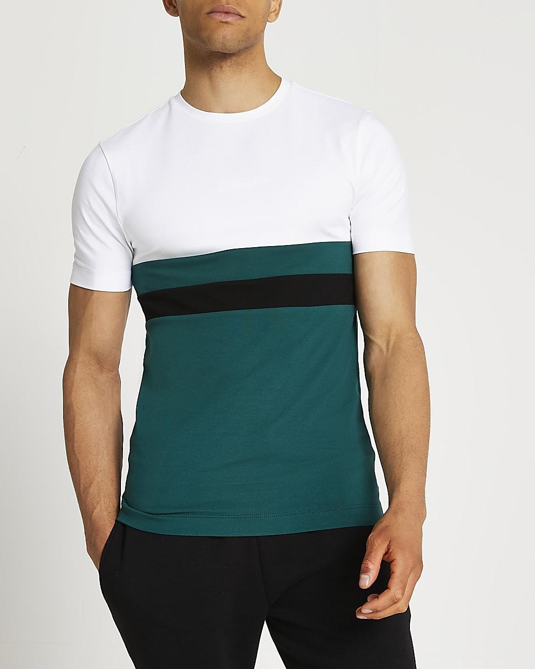 Prolific green colour block muscle t-shirt