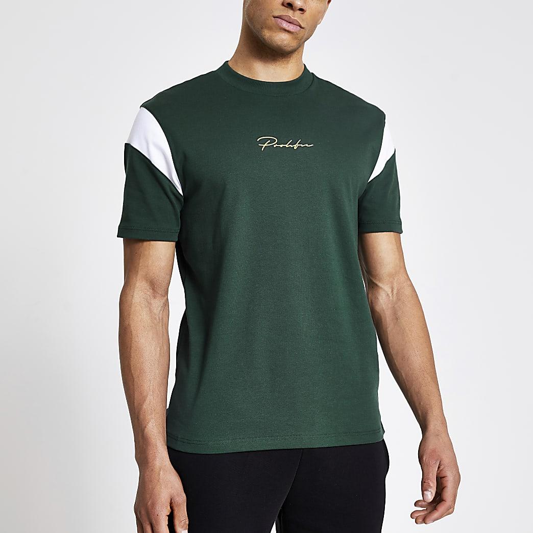 Prolific green colour block slim fit T-shirt