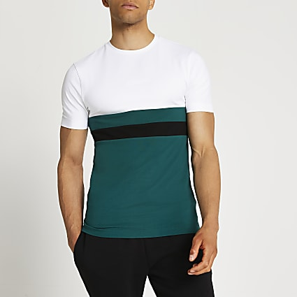 Prolific green colour block t-shirt