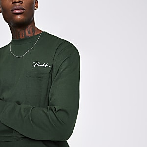 Prolific – Langärmeliges Skater-T-Shirt in Grün