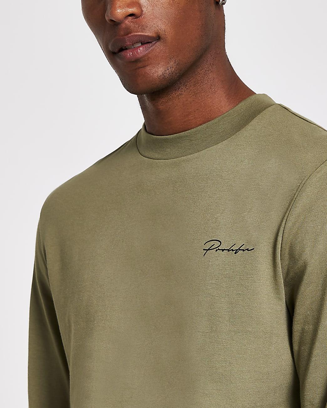 Prolific green long sleeve slim fit t-shirt