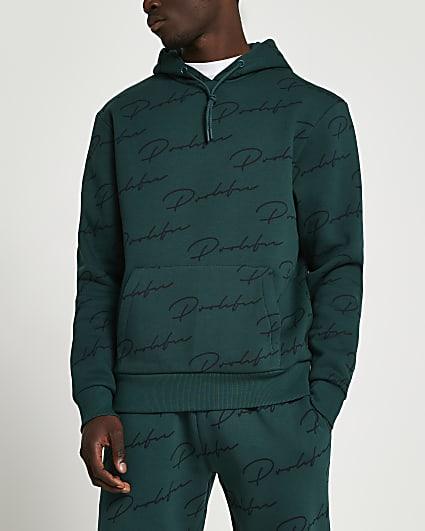Prolific green monogram hoodie
