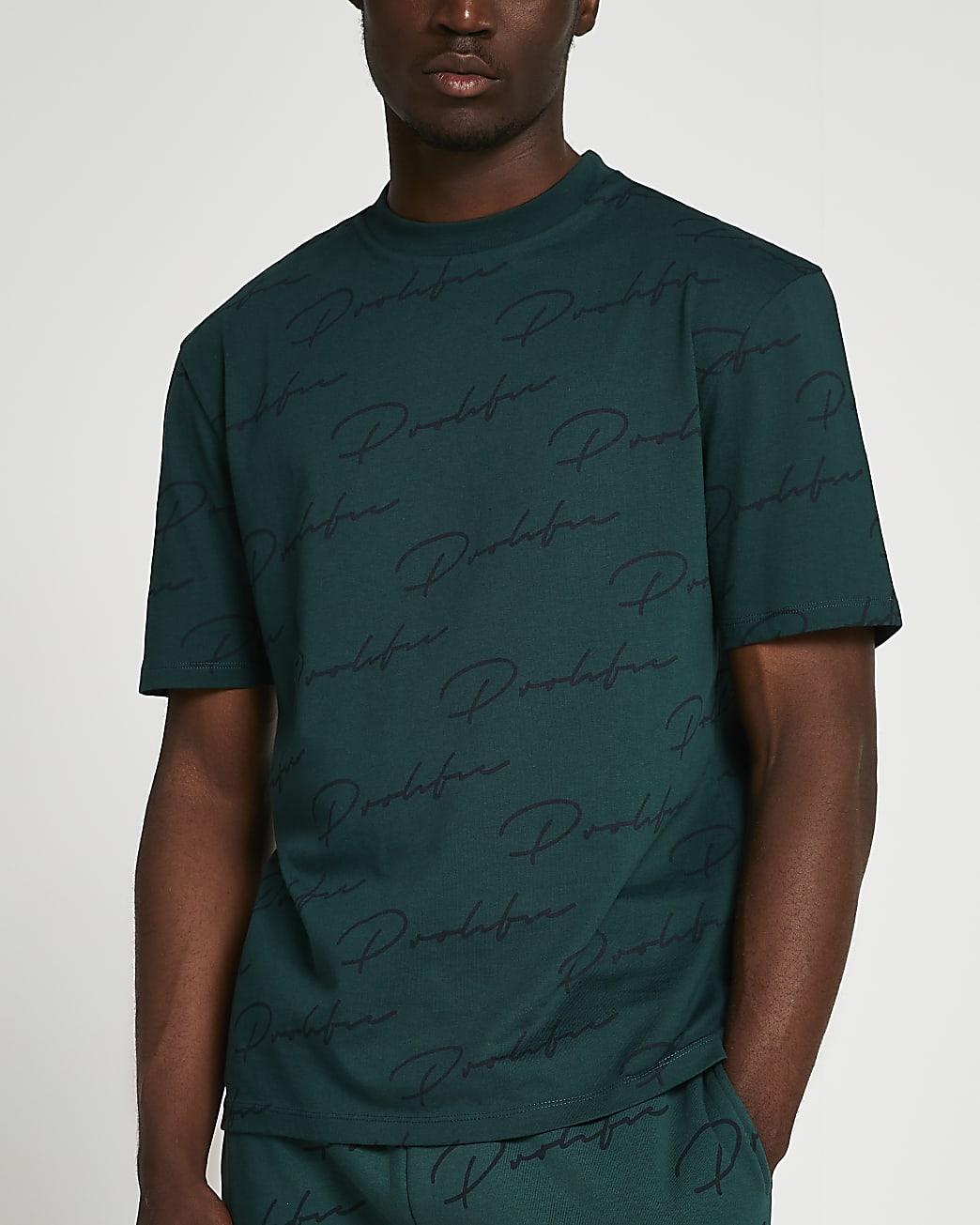Prolific green monogram regular fit t-shirt