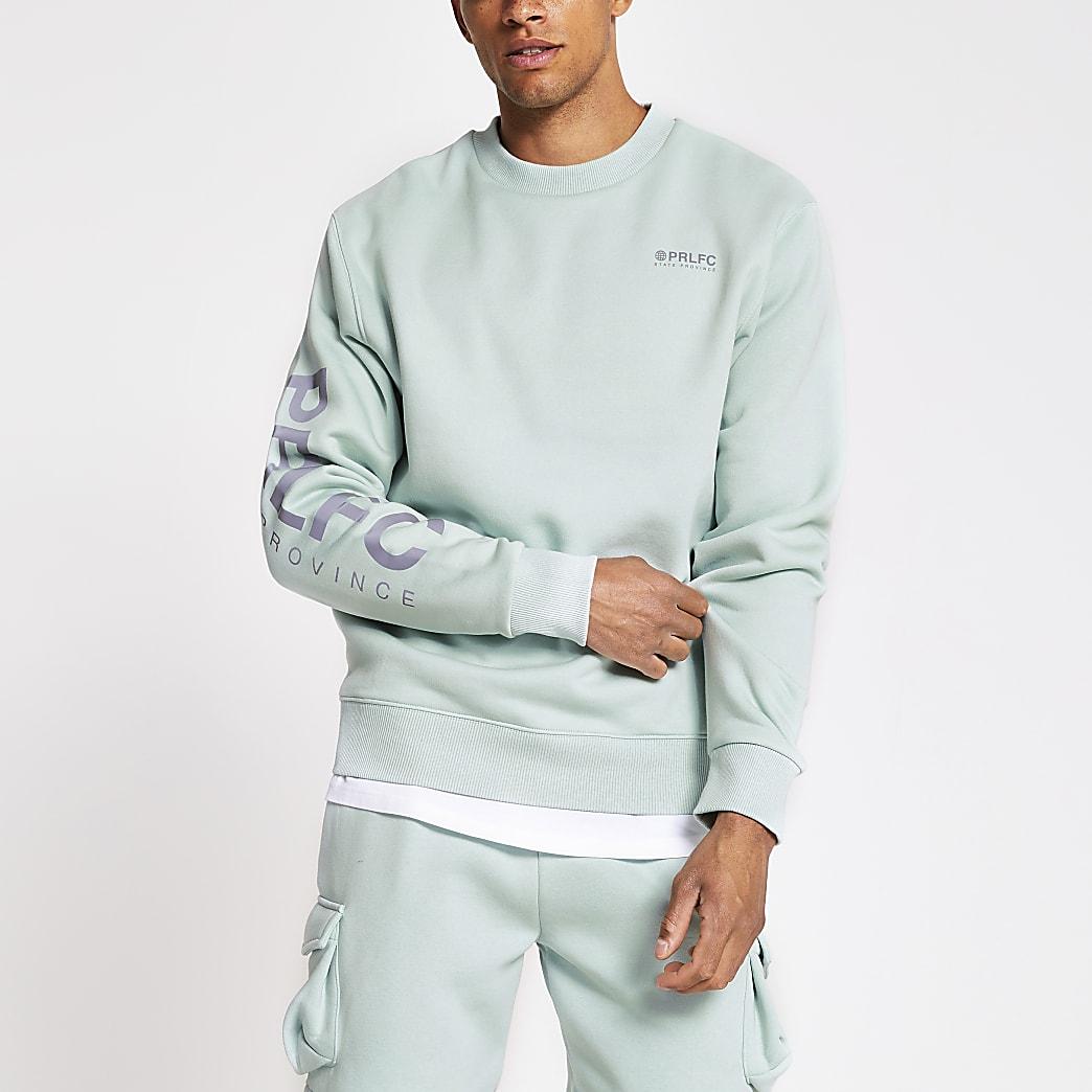 Prolific - Groene sweater met reflecterende letters