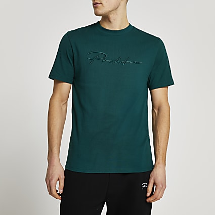 Prolific green slim fit embroidered t-shirt