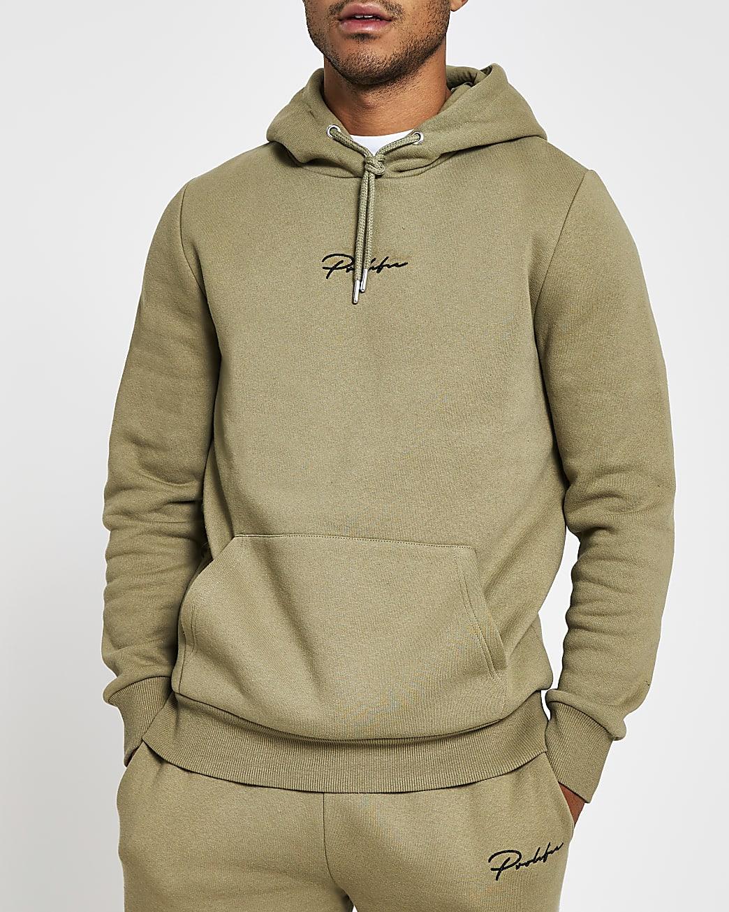 Prolific green slim fit long sleeve hoodie