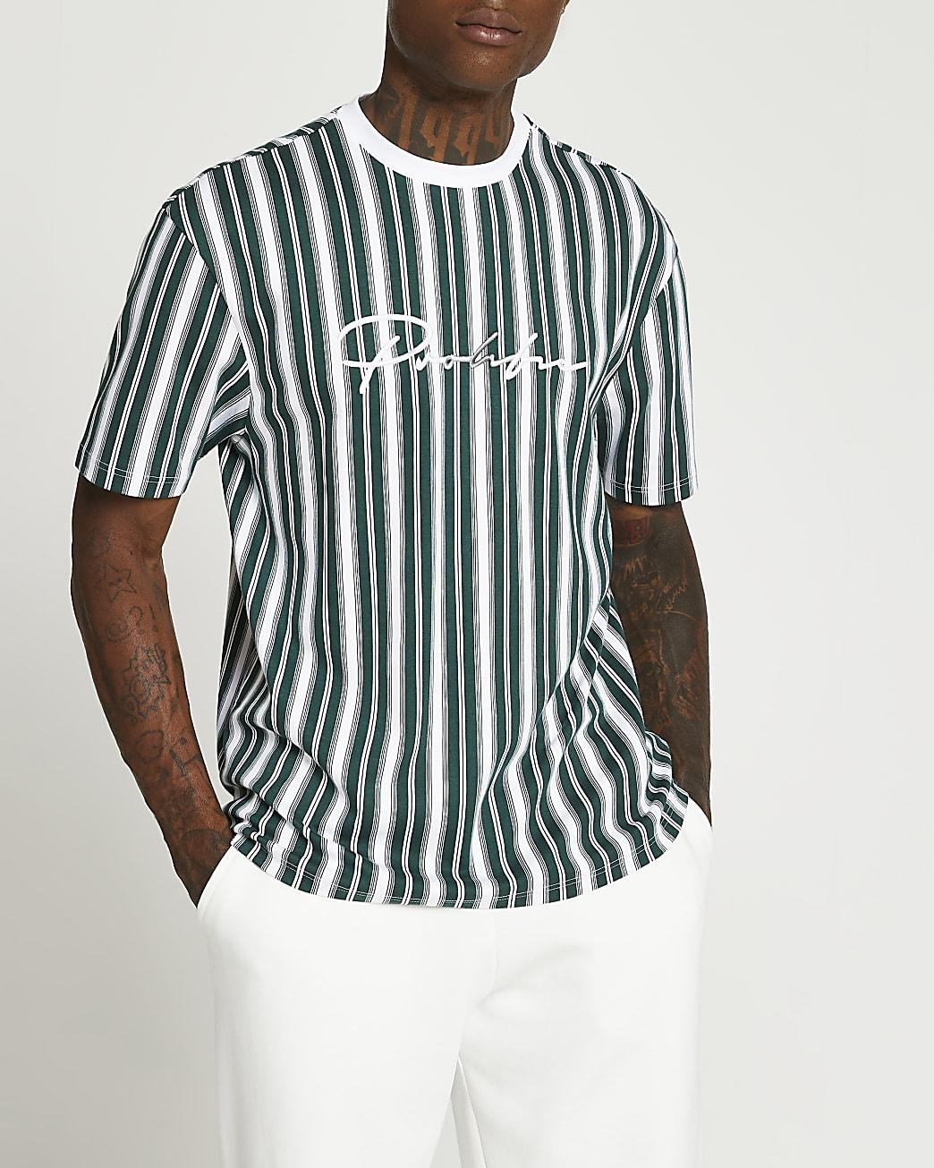 Prolific green slim fit stripe t-shirt