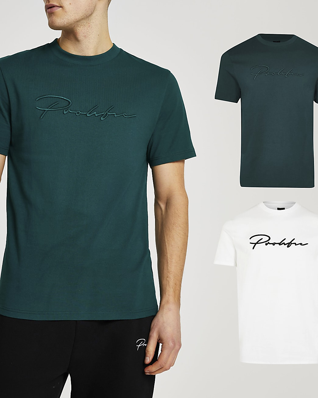 Prolific green slim fit t-shirt 2 pack