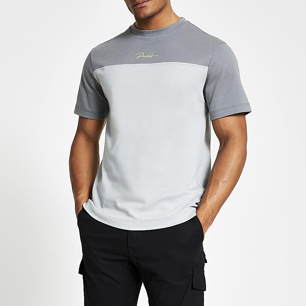 Prolific - Grijs slim-fit T-shirt met kleurvlakken