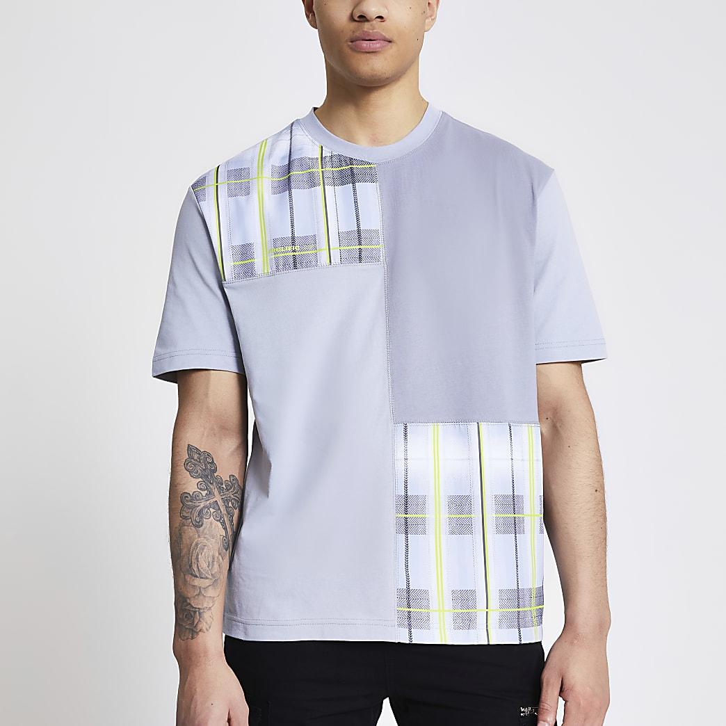 Prolific - Grijs geruit T-shirt met kleurvlakken