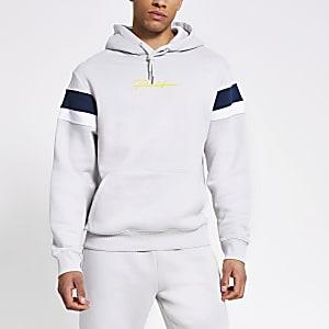 Prolific grey colour block hoodie