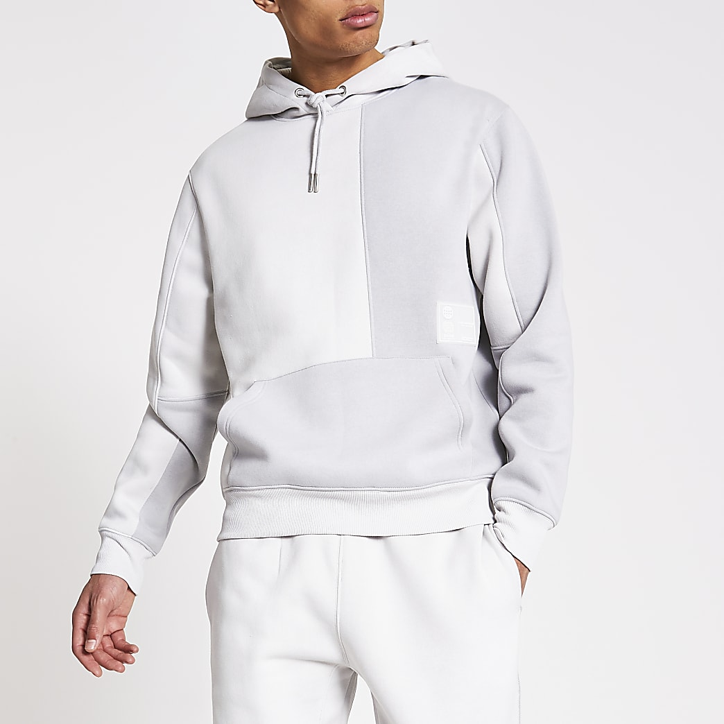 Prolific grey colour block regular fit hoodie