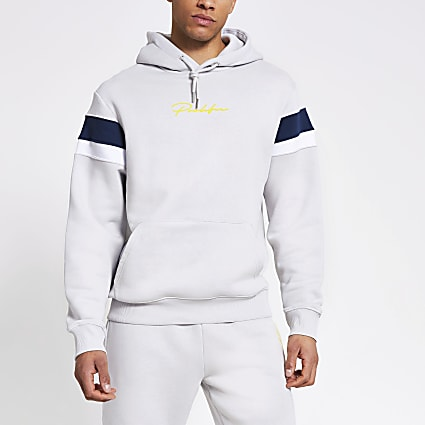 Prolific grey colour blocked hoodie