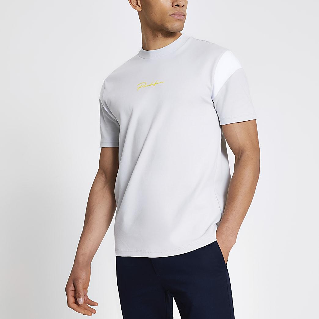 Prolific grey colour blocked regular T-shirt