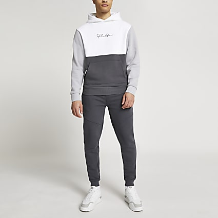 Prolific grey colour blocked slim fit hoodie