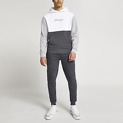 Prolific grey colour blocked slim fit hoodie