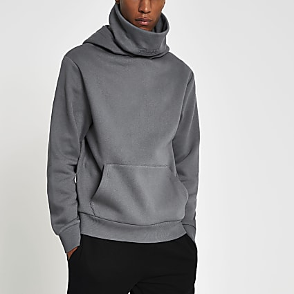 Prolific grey double neck slim fit hoodie