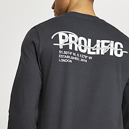 Prolific grey long sleeve regular fit t-shirt