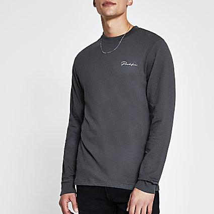 Prolific grey long sleeve slim fit t-shirt
