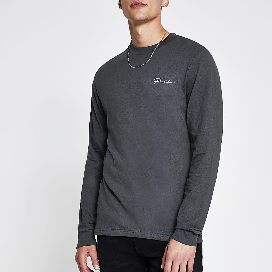 Prolific grey long sleeve slim fit t-shirt