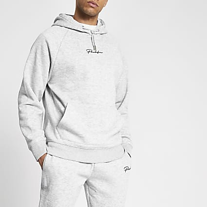 Prolific grey marl regular fit hoodie