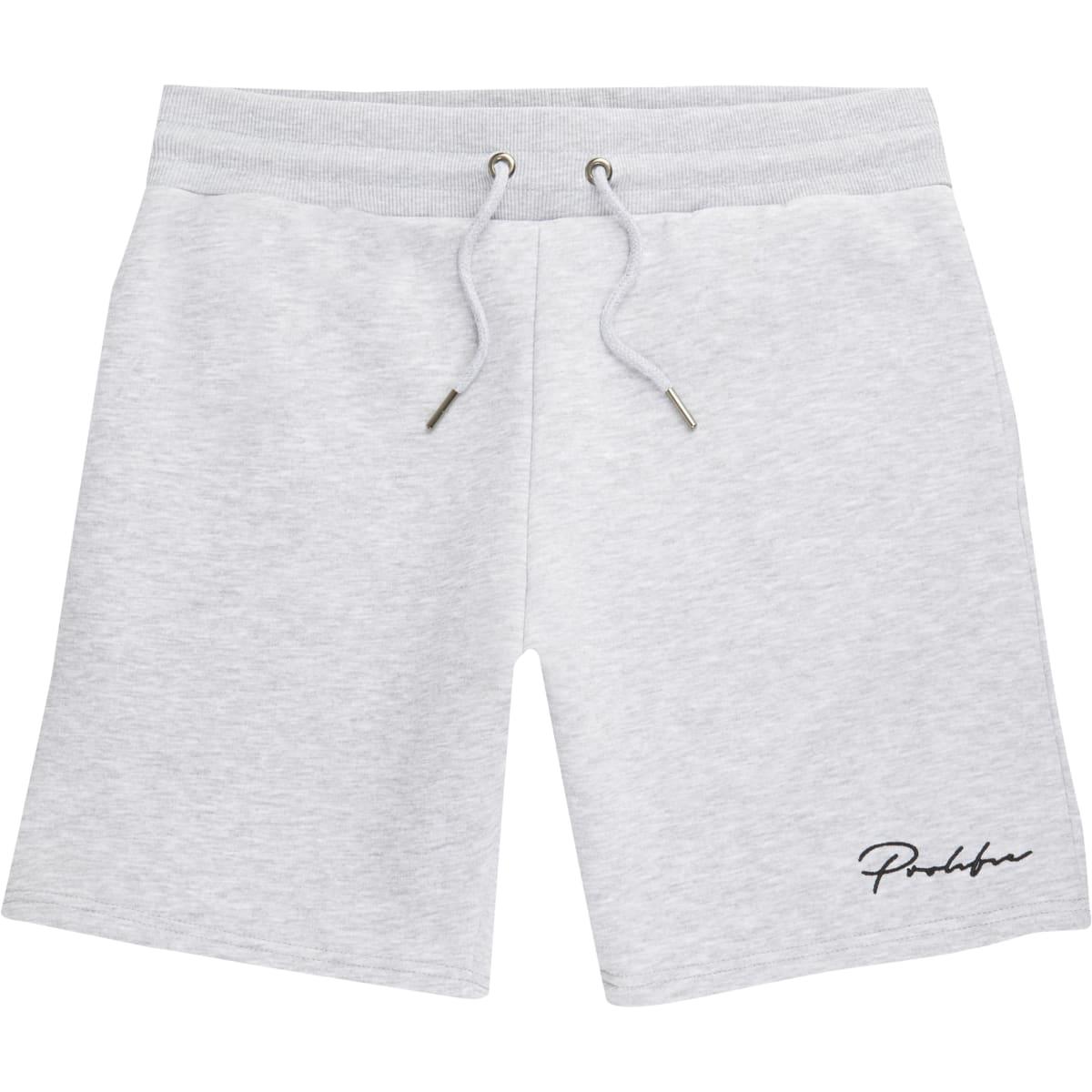 Prolific - Grijze gemêleerde slim-fit short