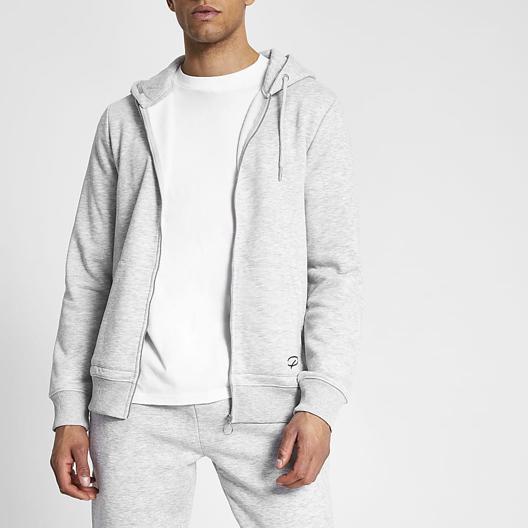 Prolific grey marl zip up front slim hoodie