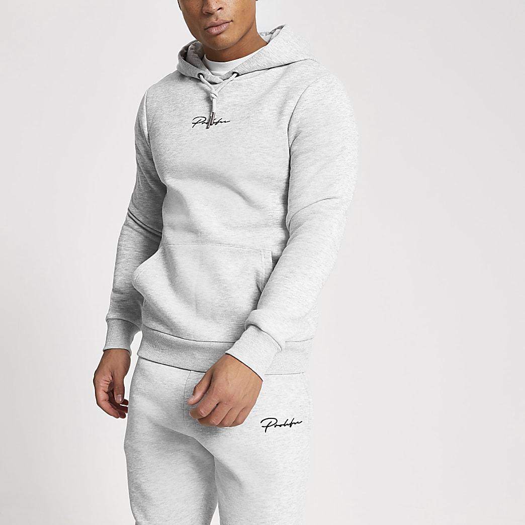 Prolific- Grijze muscle-fit hoodie