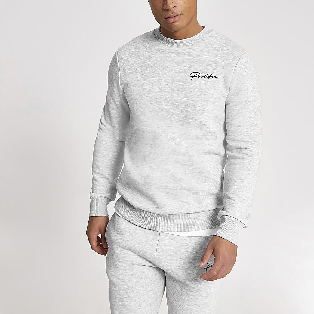 Prolific- Grijze muscle-fit sweater