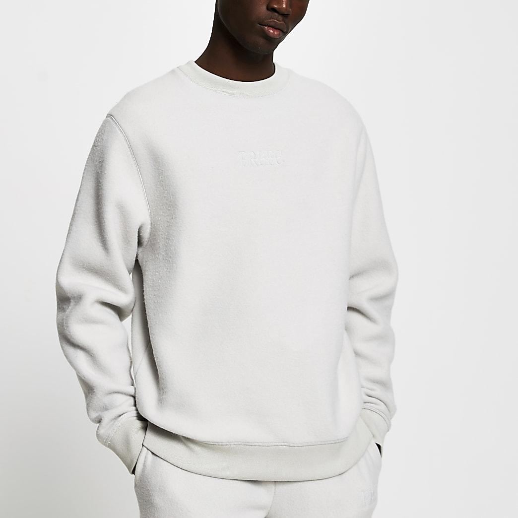 Prolific grey regular fit fleece sweatshirt
