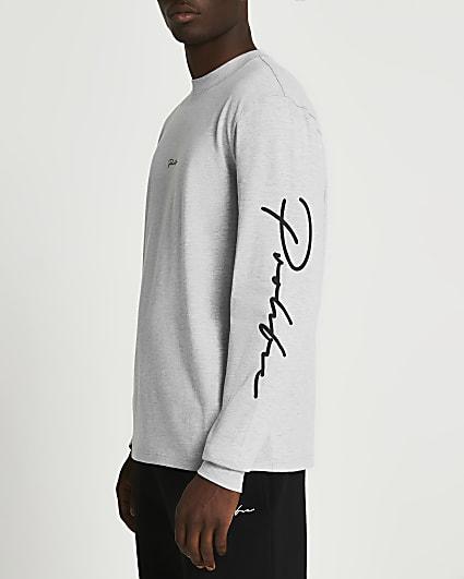 Prolific grey regular fit long sleeve t-shirt