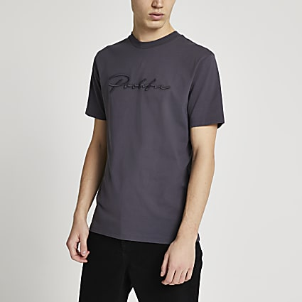 Prolific grey slim fit embroidered t-shirt