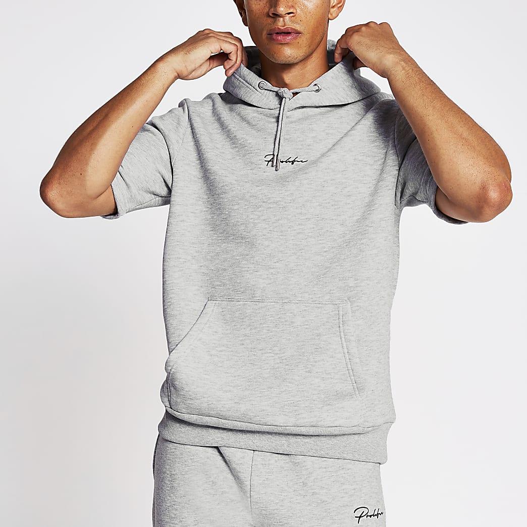 Prolific grey slim fit short sleeve hoodie