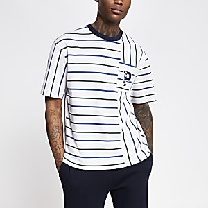 Prolific grey stripe chest pocket T-shirt
