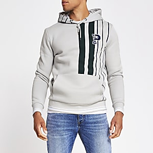 Prolific grey stripe slim fit hoodie